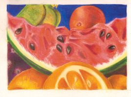 .Coloured Pencil Fruit. by CrimsonSlush