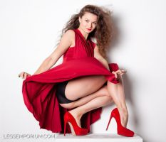 Lady In Red with Great Legs - Elena - LE by LegsEmporium