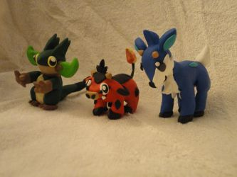 ~Xous54's Fakemon Starters by DoublerTrouble