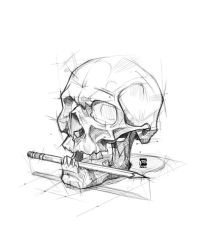 20180129 Skull + Pencil Psdelux by psdeluxe