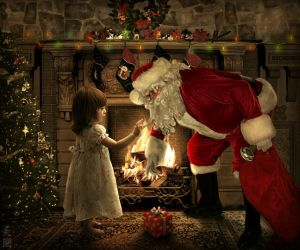 Santa Claus with Little Girl by MeeranUhm