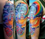 Colorful tattoo sleeve in prog by gettattoo