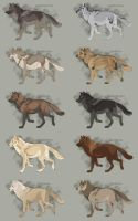 Semi-Realistic Wolf Adopts - Set 25 - OPEN by Therbis