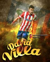 David Villa Atletico de madrid by InfiernoRojiblanco