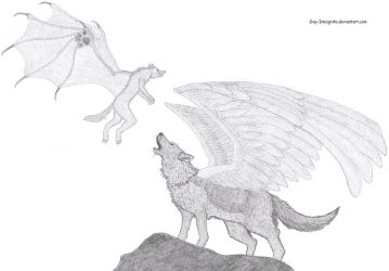 winged Wolf and Werewolf by Guy-Inkognito