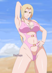 Tsunade on the beach by RayDopeSan