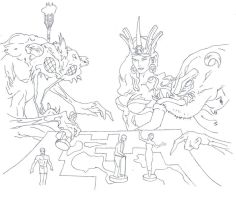 Meeples game drawing (Inked 150dpi) by electronicdave