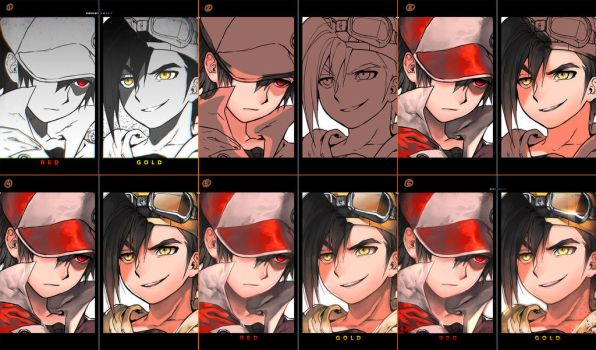 Red vs Gold step by step by kawacy