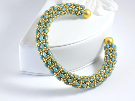 Turquoise Picasso Super Duo With Gold Seed Beads B by iceblulady
