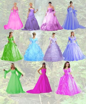 Assorted Princess Dresses by Calilasseia