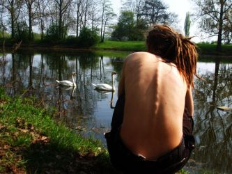 Flo and the swans by Konsummuell