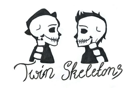 Twin Skeletons by Bluescarfone