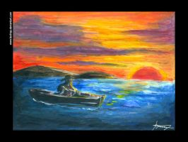 Boat and Sunset by kechap