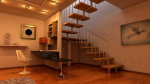 Interior with a stairway 5 by Ultrarender