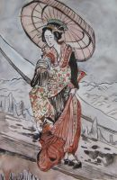 Winter - Japanese ink painting study by Cassiuseos