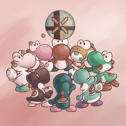 Yoshis and Smash Ball (Commission for Jbandrew) by MuzYoshi