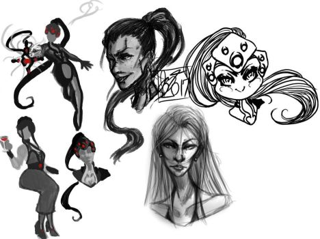 Widowmaker Sketches by DefinitionJoker