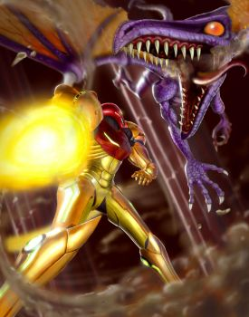 Samus Vs. Ridley by Pigzty