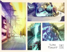 Techno Forest - Environment Thumbs 2 by CatCouch