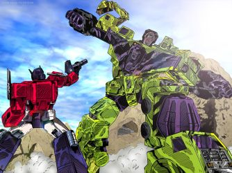Transformers: Optimus Prime vs Devastator (Color) by KeithMeyerArt