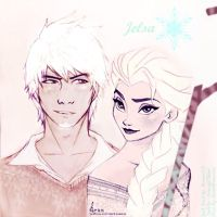 Jelsa ~ older!Jack Frost and Queen Elsa by Mannie258