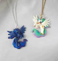 Celestia and Luna Pendants by LittleBreeze
