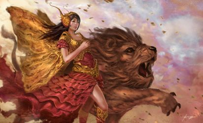 Pepper Gold Butterfly and Lion by Jessada-Art