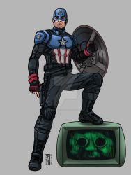 Bucky as Captain America by omegaseraphx