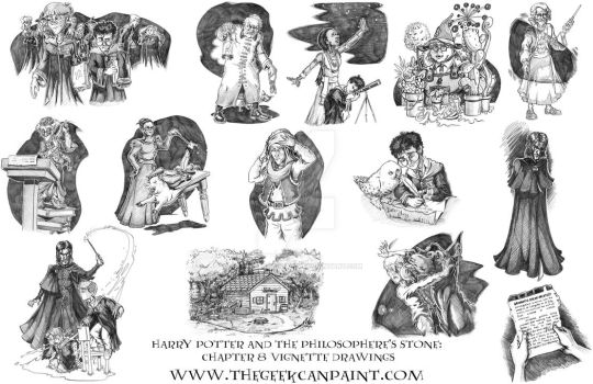 Harry Potter: Book 1 Chapter 8 Vignette Drawings by TheGeekCanPaint