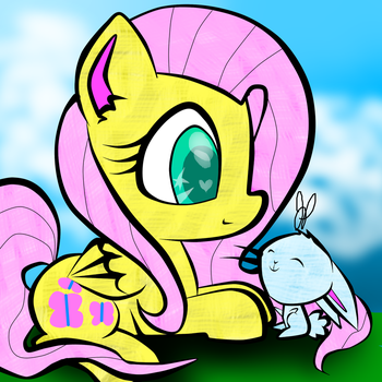 Fluttershy Loves Angel Bunny by meotashie