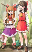 Reimu and Suika by permanentlow