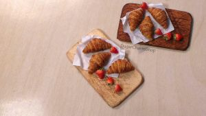 1:12 croissants and strawberries by sugarcharmshop