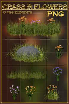 Grass and Flowers PNG by KlaraKay