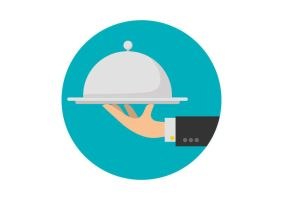Waiter Hand Holding Tray Service Free Vector by superawesomevectors