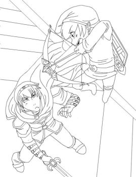 Marth vs T.Link Lineart by Teh-Great-Ippeh
