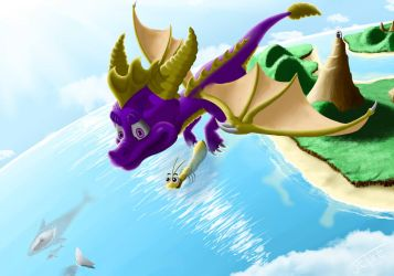 Spyro and Sparx between worlds by Jetxe