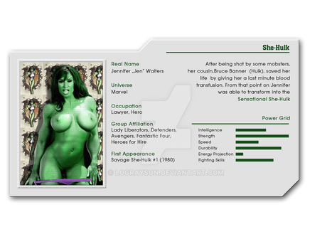Hot Heroines File 01 - She-Hulk by LograySon