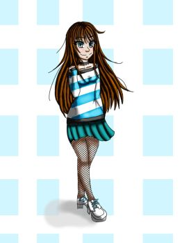 Striped Shirt with Fishnet Stockings by BritxBrit