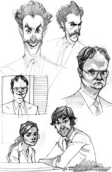 The Office and Borat Sketches by J-Scott-Campbell
