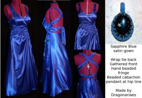 Blue sculptured prom gown by dragonariaes
