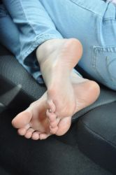 Bare feet in the Car by Foxy-Feet
