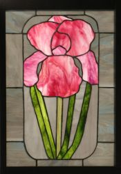 Pink Iris in Stained Glass by CarolynYM
