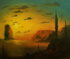 Evening Cypresses by Loo1Cool