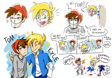 Tom and Kyle (from the Sonic.exe creepypasta) by thegreatrouge