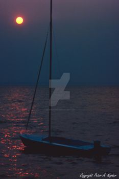 Sailboat Sunset Silhouette by peterkopher