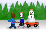 Moving the snowman by Arerona