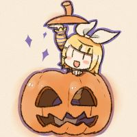 Rin-chan in the pumpkin by grimay