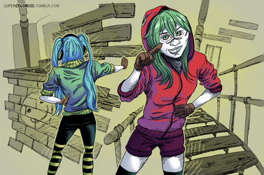Matryoshka Gumi and Miku. Vocaloid by SuperColoroid