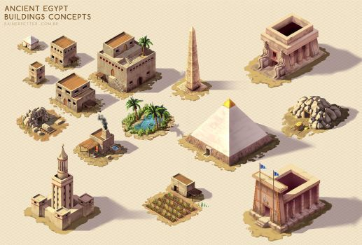 Ancient Egypt - Buildings concepts by rainerpetterart