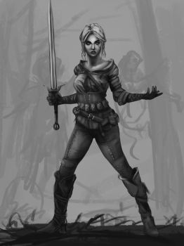 Ciri from the Witcher 3 for MaySketchADay 17 by AxiDaos